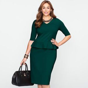 Talbots Women's Plus Green Peplum Dress - 16W